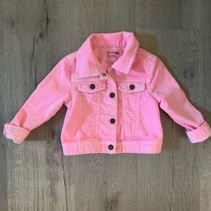 Soft denim pink jean jacket, size 2T